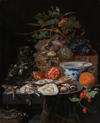Stilleven met vruchten, oesters en een porseleinen kom, Abraham Mignon, 1660 – 1679