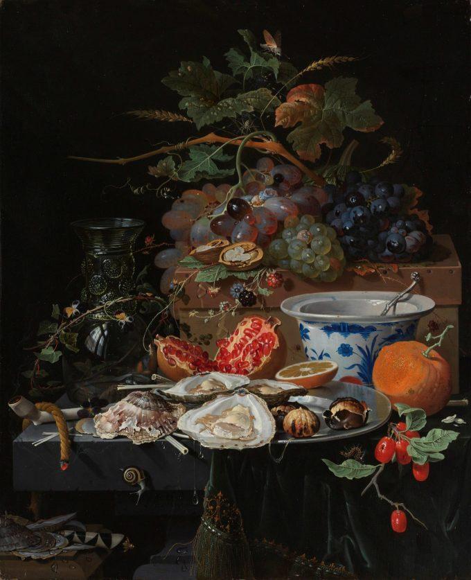 Stilleven met vruchten, oesters en een porseleinen kom, Abraham Mignon, 1660 - 1679