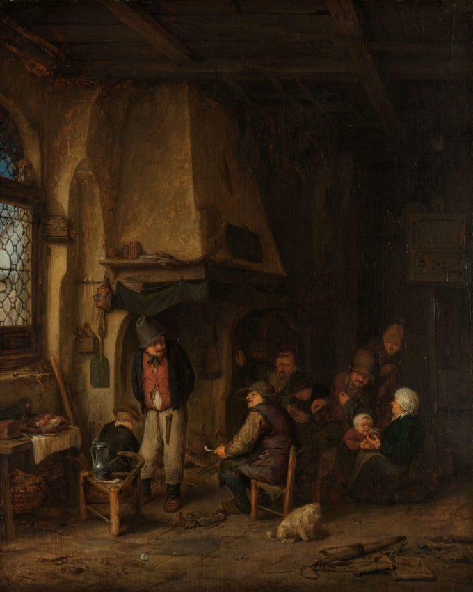 'De schaatsenrijders': boerengezelschap in interieur, Adriaen van Ostade, 1650