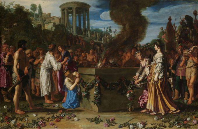 De offerstrijd tussen Orestes en Pylades, Pieter Lastman, 1614