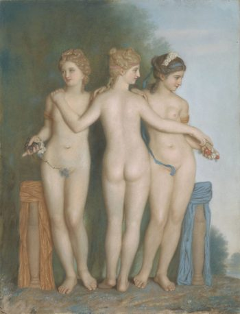De Drie Gratiën naar de antieke Romeinse beeldengroep in de Galleria Borghese te Rome, Jean-Etienne Liotard, 1737