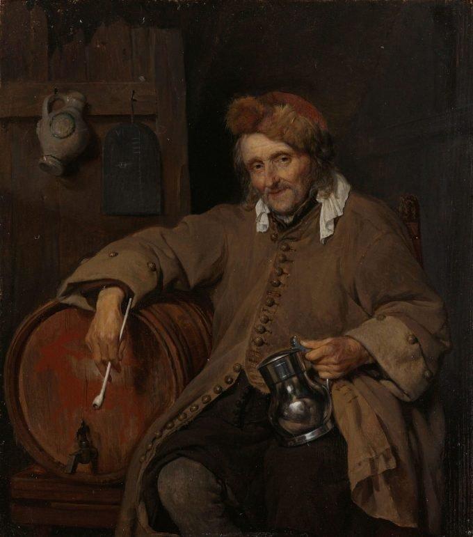 De oude drinker, Gabriël Metsu, ca. 1661 - ca. 1663