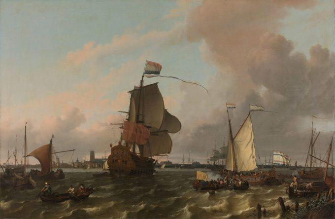 Het oorlogsschip Brielle op de Maas voor Rotterdam, Ludolf Bakhuysen, 1689