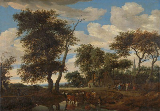 Dorpsgezicht, Salomon van Ruysdael, 1663