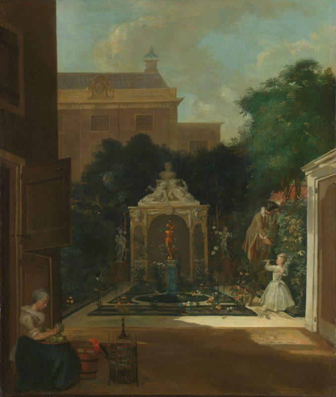 Een Amsterdamse stadstuin, Cornelis Troost, ca. 1740 - 1745