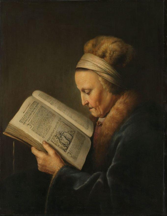 Lezende oude vrouw, Gerard Dou, ca. 1631 - ca. 1632
