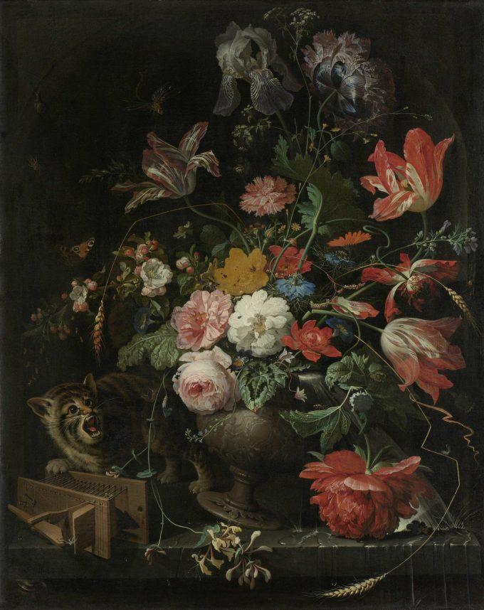 De omvergeworpen ruiker, Abraham Mignon, 1660 - 1679