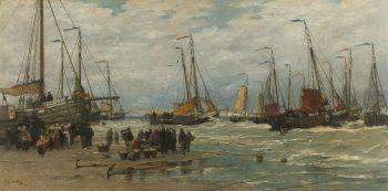 Pinken in de branding, Hendrik Willem Mesdag, ca. 1875 – ca. 1885