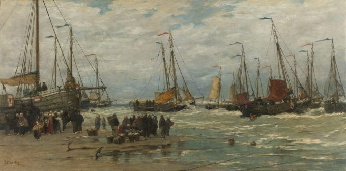 Pinken in de branding, Hendrik Willem Mesdag, ca. 1875 - ca. 1885