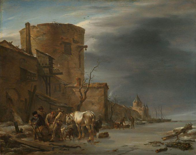 Stadswal van Haarlem in de winter, Nicolaes Pietersz. Berchem, 1647