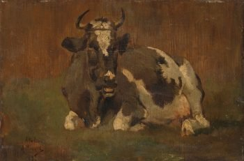 Liggende koe, Anton Mauve, ca. 1860 – ca. 1888