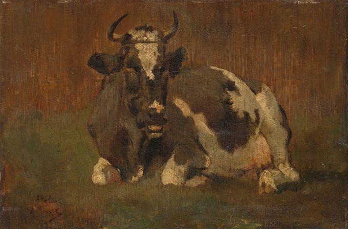 Liggende koe, Anton Mauve, ca. 1860 - ca. 1888