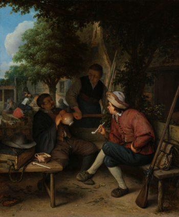 Rustende reizigers, Adriaen van Ostade, 1671