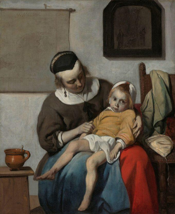 Het zieke kind, Gabriël Metsu, ca. 1664 - ca. 1666