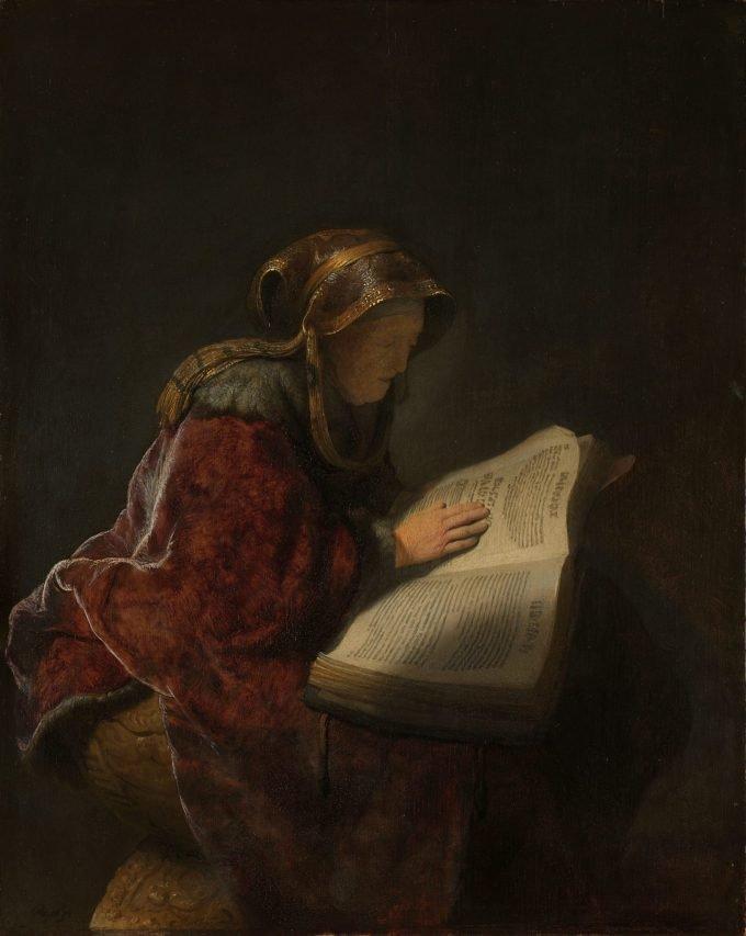 Oude lezende vrouw, waarschijnlijk de profetes Hanna, Rembrandt van Rijn, 1631