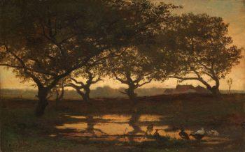 Bosvijver bij zonsondergang, Gerard Bilders, ca. 1862