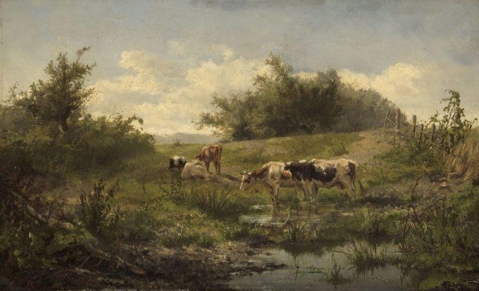 Koeien bij een plas, Gerard Bilders, 1856 - 1858