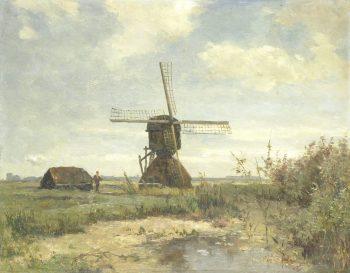'Zonnige dag': een molen aan een wetering, Paul Joseph Constantin Gabriël, ca. 1860 – ca. 1903