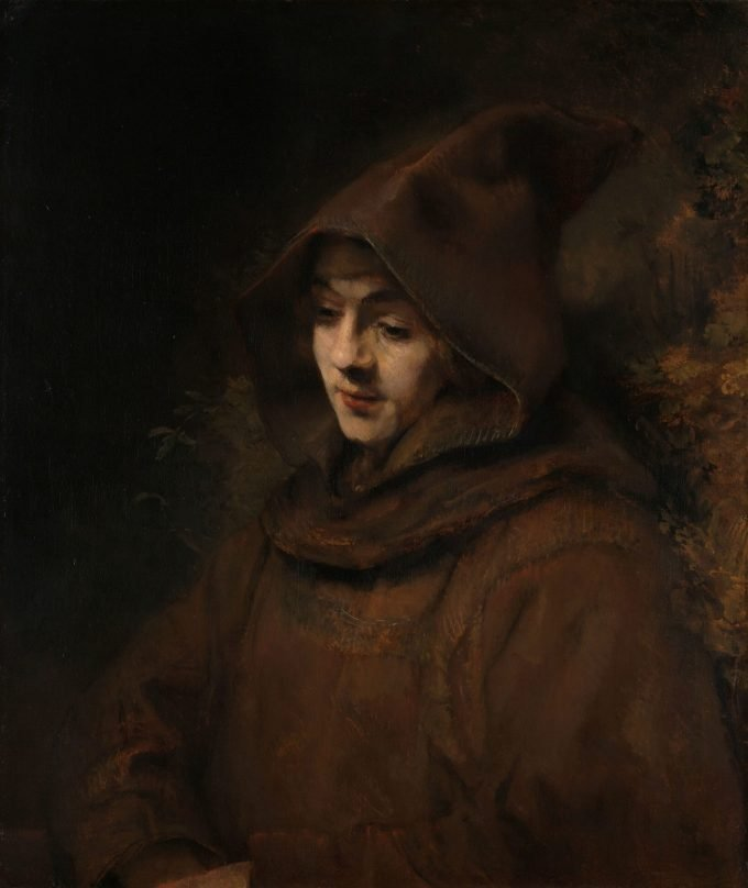 Rembrandts zoon Titus in monniksdracht, Rembrandt van Rijn, 1660