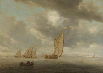 Zeilschepen op breed binnenwater, Salomon van Ruysdael, 1630 – 1670