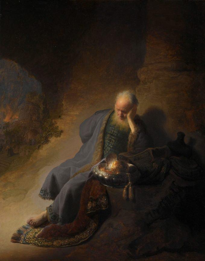 Jeremia treurend over de verwoesting van Jeruzalem, Rembrandt van Rijn, 1630