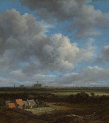 Gezicht op Haarlem uit het noordwesten, met de blekerijen op de voorgrond, Jacob Isaacksz. van Ruisdael, ca. 1650 – ca. 1682