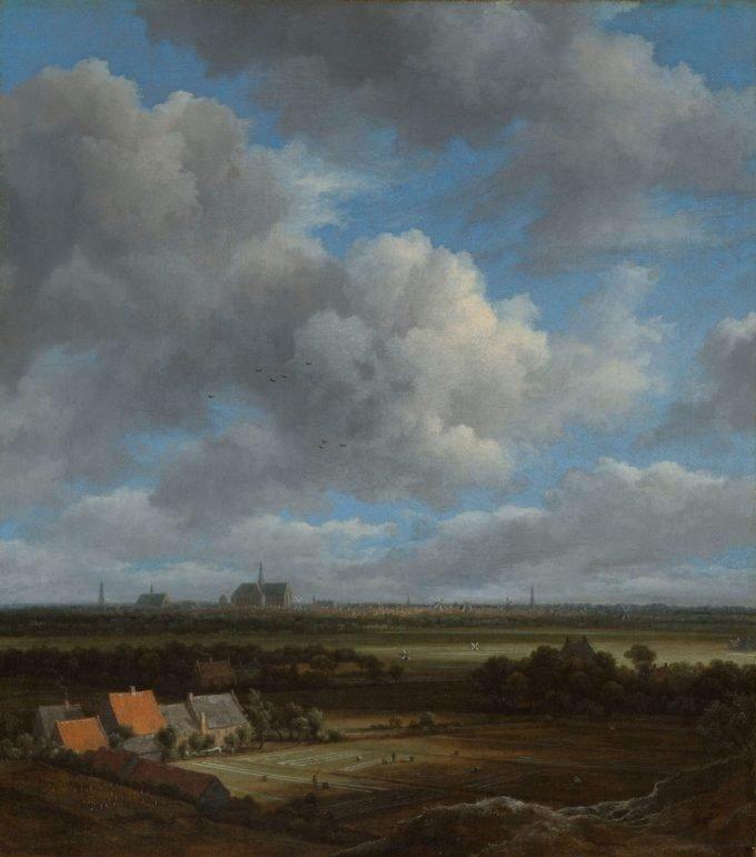 Gezicht op Haarlem uit het noordwesten, met de blekerijen op de voorgrond, Jacob Isaacksz. van Ruisdael, ca. 1650 - ca. 1682