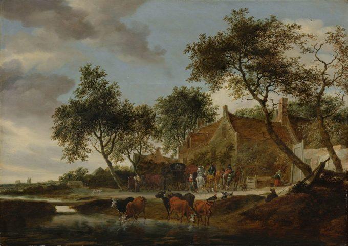 Pleisterplaats, Salomon van Ruysdael, 1660
