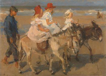 Ezeltje rijden langs het strand, Isaac Israels, ca. 1890 – ca. 1901
