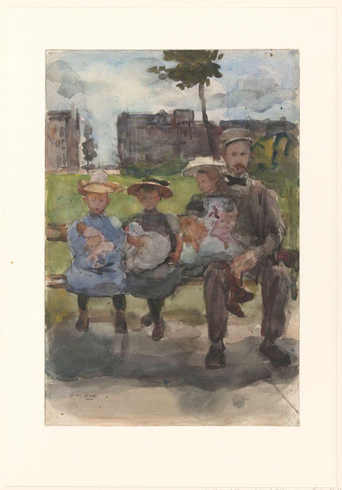 Man met drie meisjes op een bank in het Oosterpark te Amsterdam, Isaac Israels, ca. 1886 - ca. 1904