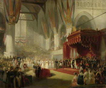 De inhuldiging van koning Willem II in de Nieuwe Kerk te Amsterdam, 28 november 1840, Nicolaas Pieneman, 1840 – 1845