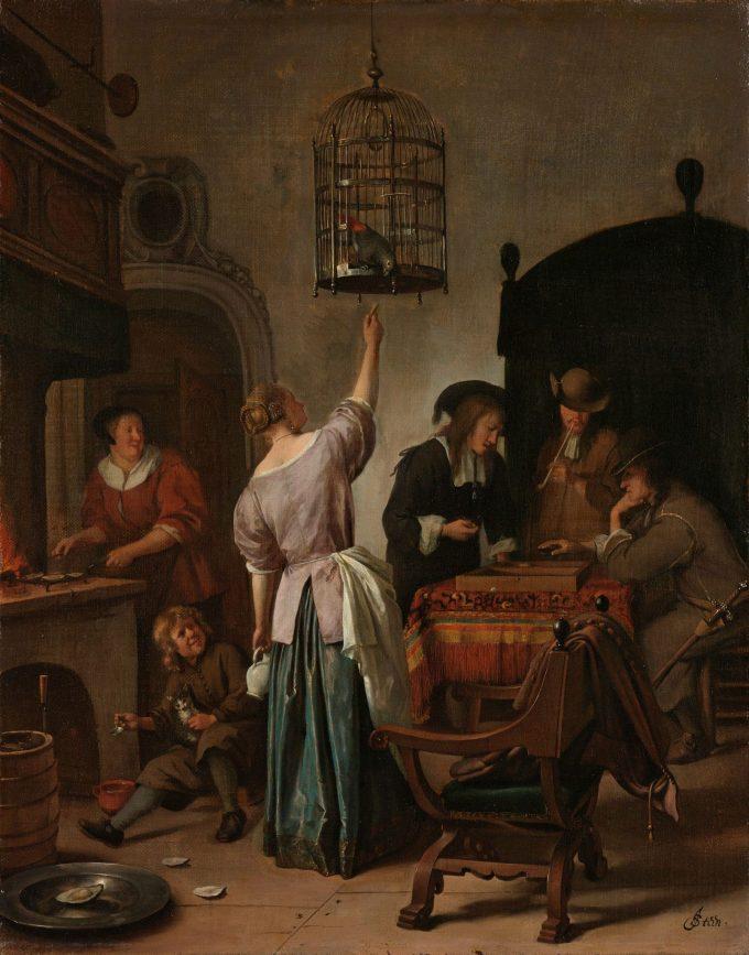 Interieur met een vrouw die een papegaai voert, bekend als 'De papegaaiekooi', Jan Havicksz. Steen, ca. 1660 - ca. 1670