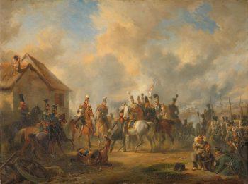De Slag bij Bautersem, gedurende de Tiendaagse Veldtocht, Nicolaas Pieneman, 1833