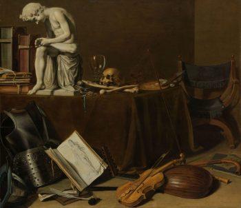 Vanitasstilleven met de Doornuittrekker, Pieter Claesz., 1628