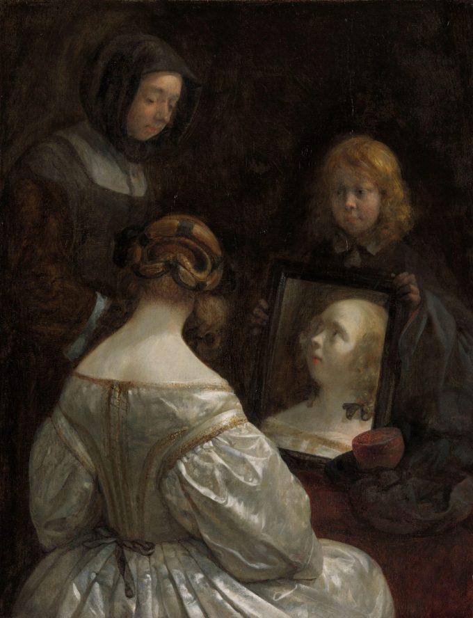 Meisje voor de spiegel, Gerard ter Borch (II), ca. 1652