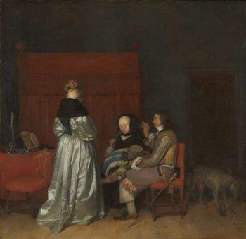 Galante conversatie, bekend als 'De vaderlijke vermaning', Gerard ter Borch (II), ca. 1654