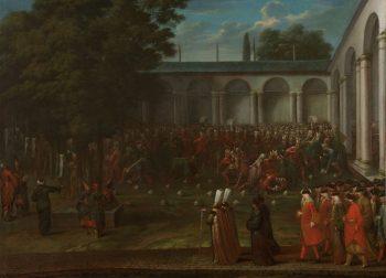 Cornelis Calkoen op weg naar de audiëntie bij sultan Ahmed III, Jean Baptiste Vanmour, ca. 1727 – ca. 1730