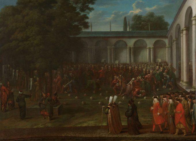 Cornelis Calkoen op weg naar de audiëntie bij sultan Ahmed III, Jean Baptiste Vanmour, ca. 1727 - ca. 1730