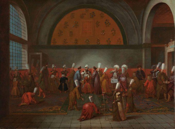 De maaltijd aangeboden aan ambassadeur Cornelis Calkoen, Jean Baptiste Vanmour, ca. 1727 - ca. 1730