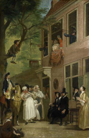 'De misleyden': de ambassadeur der Labberlotten vertoont zich voor het venster van de herberg 't Bokki in de Haarlemmerhout, Cornelis Troost, ca. 1739 – voor 1750