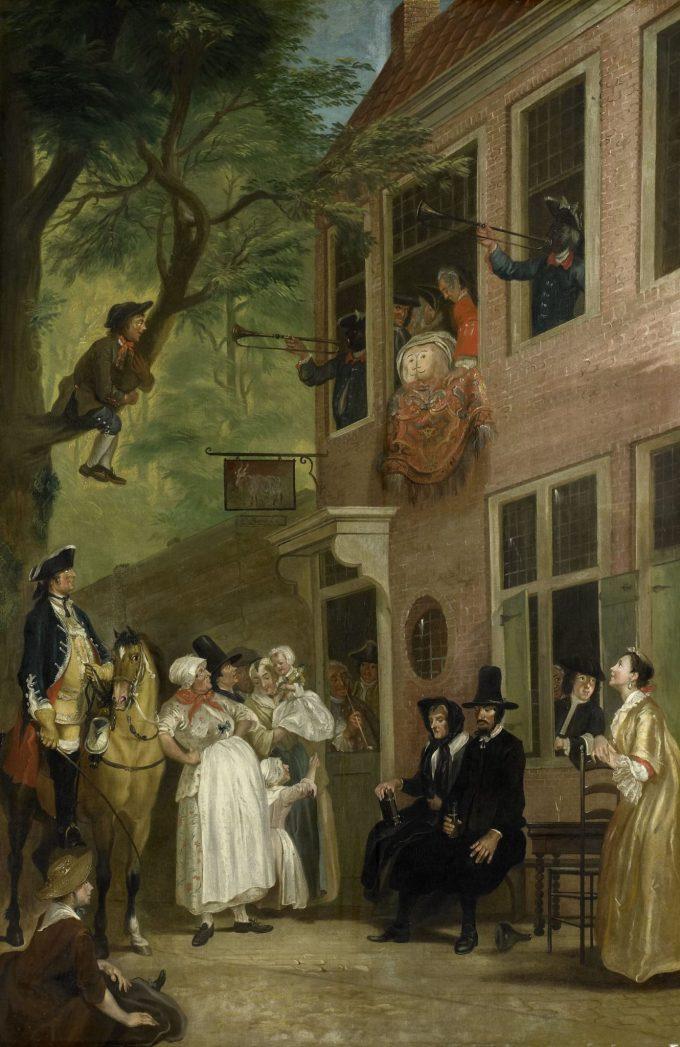 'De misleyden': de ambassadeur der Labberlotten vertoont zich voor het venster van de herberg 't Bokki in de Haarlemmerhout, Cornelis Troost, ca. 1739 - voor 1750