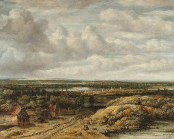 Vergezicht met hutten aan een weg, Philips Koninck, 1655