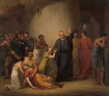 De zelfopoffering van predikant Hambroeck op Formosa, 1662, Jan Willem Pieneman, 1810