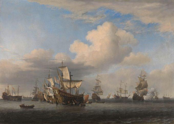 Veroverde Engelse schepen na de Vierdaagse Zeeslag, Willem van de Velde (II), ca. 1666