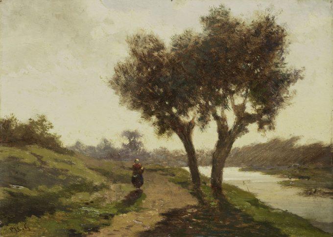 Landschap met twee bomen, Paul Joseph Constantin Gabriël, 1860 - 1867