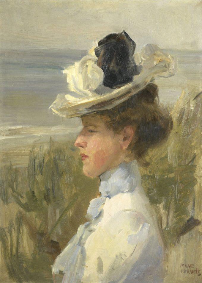 Jonge vrouw, uitkijkend over zee, Isaac Israels, ca. 1895 - ca. 1900