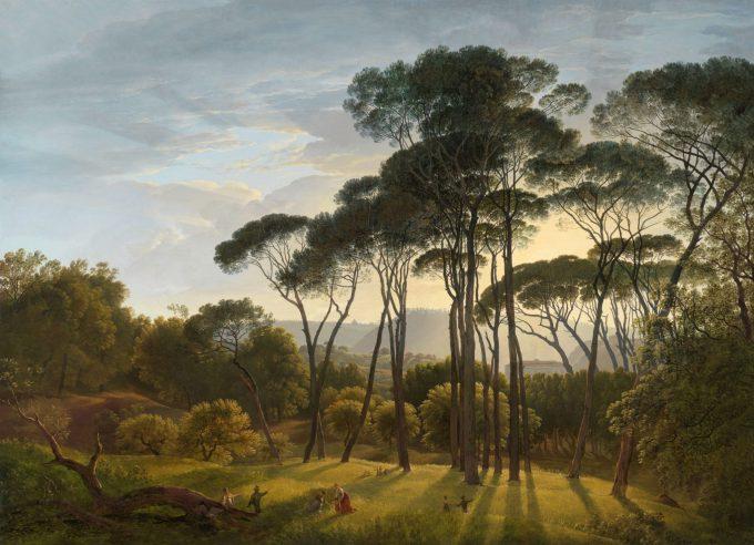 Italiaans landschap met parasoldennen, Hendrik Voogd, 1807