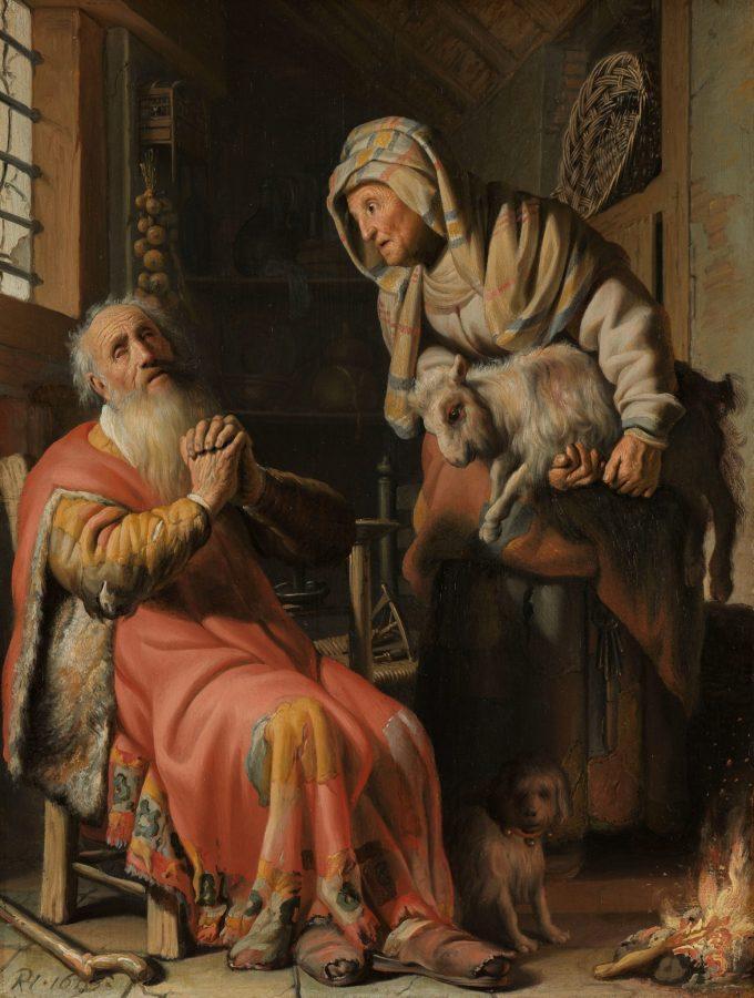 Tobit en Anna met het bokje, Rembrandt van Rijn, 1626
