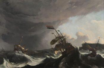 Oorlogsschepen tijdens een storm, Ludolf Bakhuysen, ca. 1695