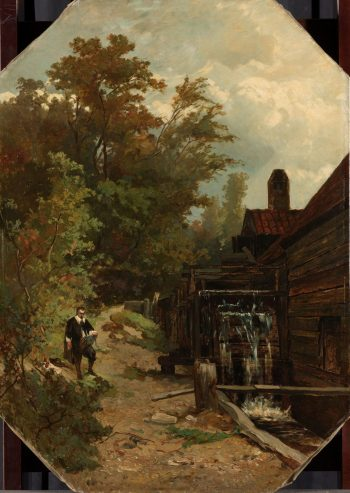 Jacob van Ruisdael, een watermolen schetsend, Albert Gerard Bilders, 1864